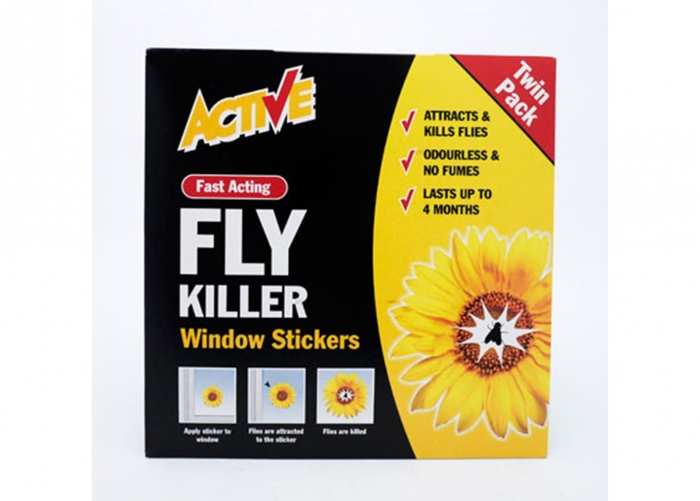 Active fly killer window sticker