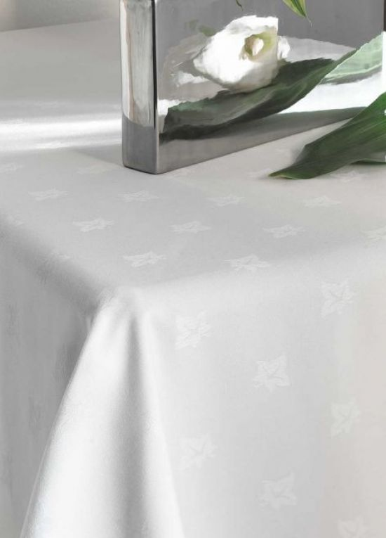 White 100% Cotton Ivyleaf Design Tablelinen,