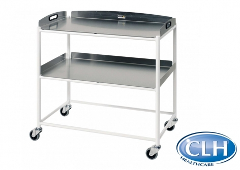 Stainless Steel Two Tray Large Dressing Trolley