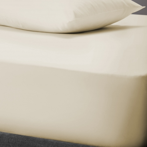 PolyCotton Fitted Sheet, Double - Cream