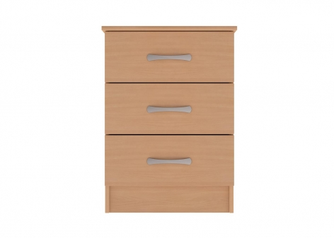 3 Drawer Bedside Cabinet with Top Drawer Lock in Beech