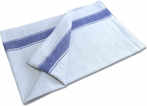 White Tea Towel with Blue Stripe Band