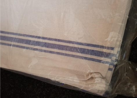 White Glass Cloth with Blue Stripes