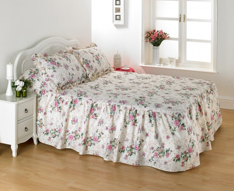 Quilted Fitted (Valanced) Bedspread, Single - Rose Garden