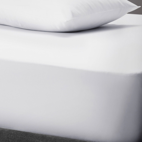 PolyCotton Fitted Sheet, Double - White