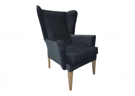 ALBION Lounge Chair in Agua Juno Charcoal Fabric