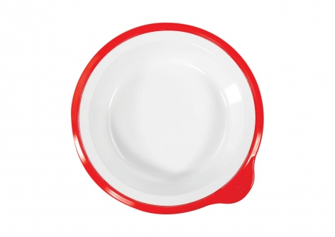 OMNI White Small Deep Plate, 170mm - Red Rim