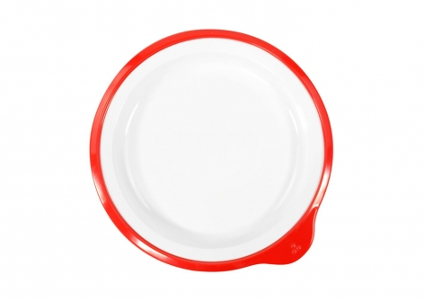 OMNI White Small Low Plate, 170mm - Red Rim