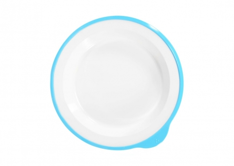 OMNI White Large Deep Plate, 230mm - Blue Rim