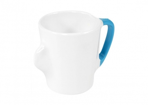 OMNI White Mug, 300ml - Blue Handle