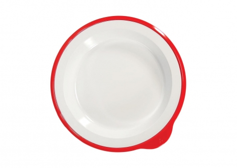 OMNI White Large Deep Plate, 230mm - Red Rim