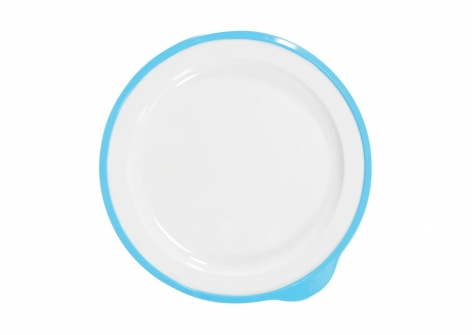 OMNI White Large Low Plate, 230mm - Blue Rim