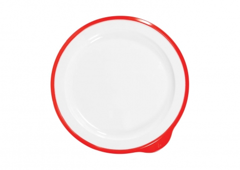 OMNI White Large Low Plate, 230mm - Red Rim