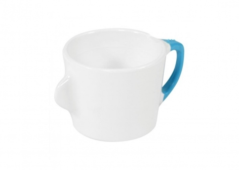 OMNI White Cup, 200ml - Blue Handle