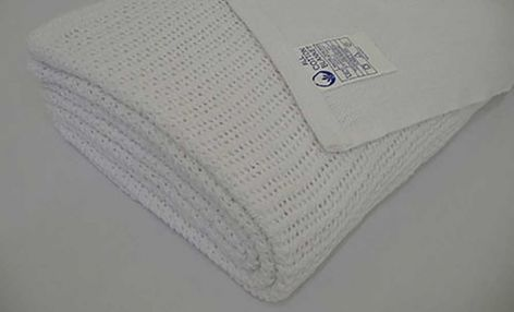 100% Cotton Cellular Blanket in White