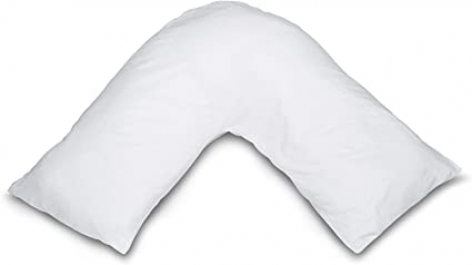 V Shaped Hollowfibre White Support Pillow